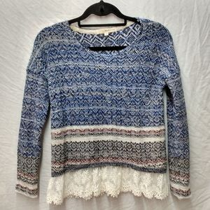 Rewind knit with lace bottom top